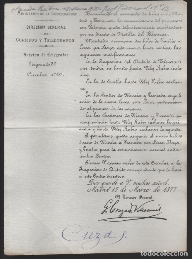 MADRID.- MINITERIO GOBERNACION- CORREOS Y TELEGRAFOS- CIRCULAR Nº 10.- AÑO 1877-VER FOTO (Sellos - España - Telégrafos)