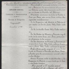 Sellos: MADRID.- MINITERIO GOBERNACION- CORREOS Y TELEGRAFOS- CIRCULAR Nº 10.- AÑO 1877-VER FOTO. Lote 205191633