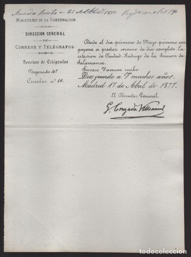 MADRID.- MINITERIO GOBERNACION- CORREOS Y TELEGRAFOS- CIRCULAR Nº 16.- AÑO 1877-VER FOTO (Sellos - España - Telégrafos)