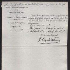Sellos: MADRID.- MINITERIO GOBERNACION- CORREOS Y TELEGRAFOS- CIRCULAR Nº 16.- AÑO 1877-VER FOTO. Lote 205191686
