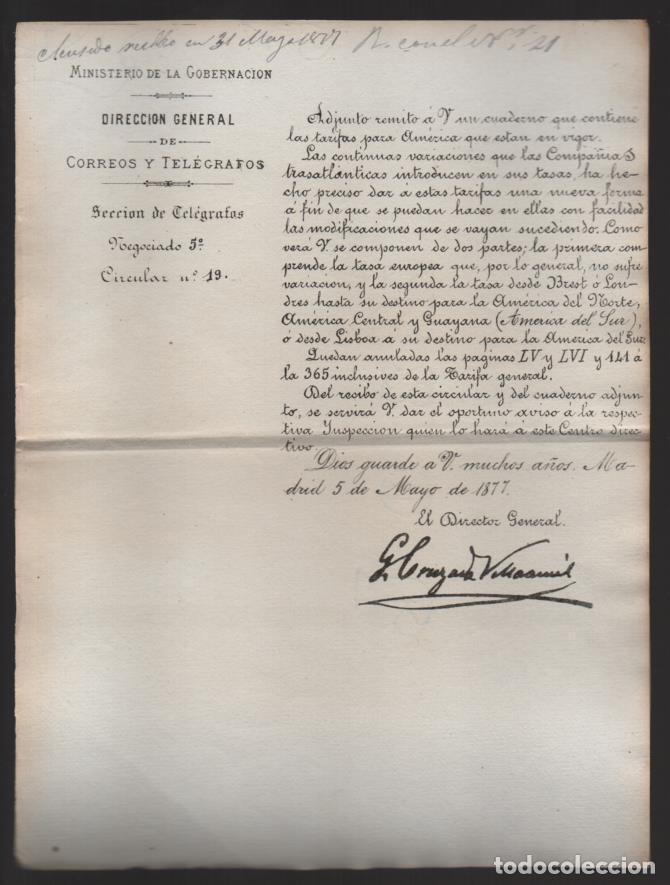 MADRID.- MINITERIO GOBERNACION- CORREOS Y TELEGRAFOS- CIRCULAR Nº 19.- AÑO 1877-VER FOTO (Sellos - España - Telégrafos)