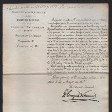 Sellos: MADRID.- MINITERIO GOBERNACION- CORREOS Y TELEGRAFOS- CIRCULAR Nº 19.- AÑO 1877-VER FOTO. Lote 205191717