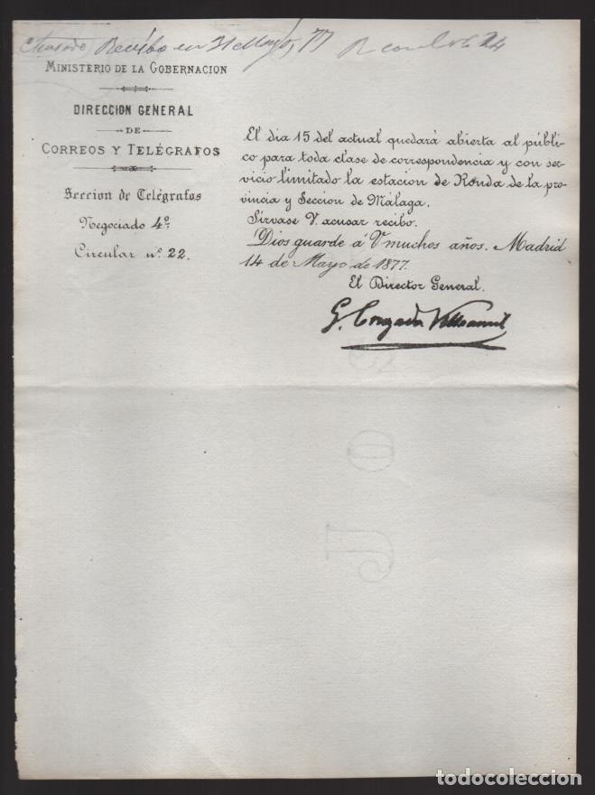 MADRID.- MINITERIO GOBERNACION- CORREOS Y TELEGRAFOS- CIRCULAR Nº 22.- AÑO 1877-VER FOTO (Sellos - España - Telégrafos)
