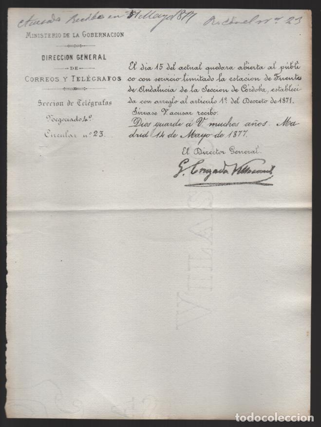MADRID.- MINITERIO GOBERNACION- CORREOS Y TELEGRAFOS- CIRCULAR Nº 23.- AÑO 1877-VER FOTO (Sellos - España - Telégrafos)