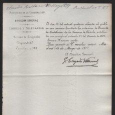 Sellos: MADRID.- MINITERIO GOBERNACION- CORREOS Y TELEGRAFOS- CIRCULAR Nº 23.- AÑO 1877-VER FOTO. Lote 205191788