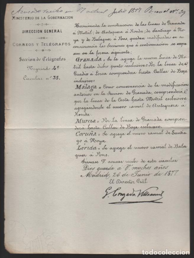 MADRID.- MINITERIO GOBERNACION- CORREOS Y TELEGRAFOS- CIRCULAR Nº 35.- AÑO 1877-VER FOTO (Sellos - España - Telégrafos)