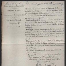 Sellos: MADRID.- MINITERIO GOBERNACION- CORREOS Y TELEGRAFOS- CIRCULAR Nº 35.- AÑO 1877-VER FOTO. Lote 205191847