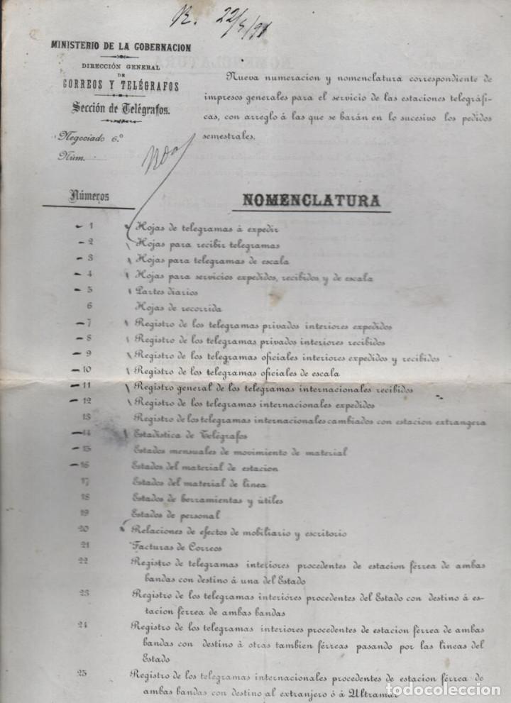 MADRID.- MINITERIO GOBERNACION- CORREOS Y TELEGRAFOS-NOMENCLATURA- AÑO 1891-VER FOTO (Sellos - España - Telégrafos)
