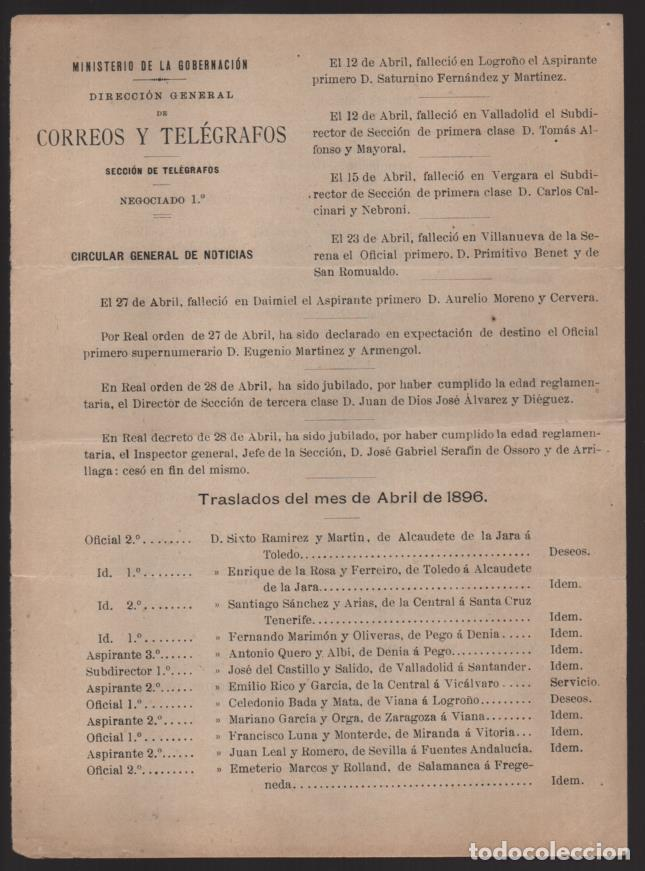 MADRID.- MINITERIO GOBERNACION- CORREOS Y TELEGRAFOS- CIRCULAR GRAL. NOTICIAS- AÑO 1896-VER FOTO (Sellos - España - Telégrafos)