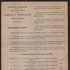 Sellos: MADRID.- MINITERIO GOBERNACION- CORREOS Y TELEGRAFOS- CIRCULAR GRAL. NOTICIAS- AÑO 1896-VER FOTO. Lote 205192236