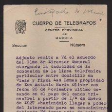 Sellos: MURCIA,- CUERPO TELEGRAFOS AL ENCARGADO ESTACION DE CIEZA.-AÑO 1939.- VER FOTO. Lote 205192386