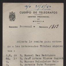 Sellos: MURCIA,- CUERPO TELEGRAFOS AL ENCARGADO ESTACION DE CIEZA.-AÑO 1940.- VER FOTO. Lote 205192430