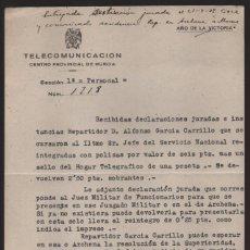 Sellos: MURCIA,- CUERPO TELEGRAFOS AL JEFE ESTACION DE CIEZA.-AÑO 1939.- VER FOTO. Lote 205192525