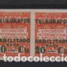 Sellos: TELEGRAFOS, PAREJA SIN DENTAR.-HABILITADOS, 10 Y 20 CTS,- VER FOTOS. Lote 205573415