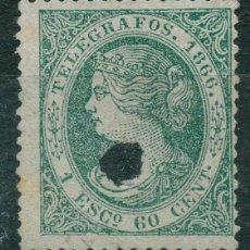 Sellos: TELÉGRAFOS - EDIFIL 15T (*) - ESPAÑA 1866 - ISABEL II. Lote 206262272