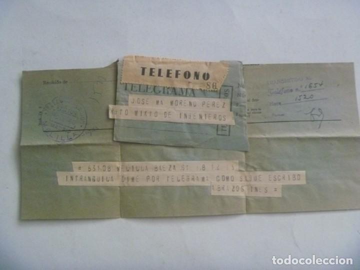 TELEGRAMA DESDE BAEZA A MILITAR RGTO. MIXTO DE INGENIEROS EN MELILLA , 1960 (Sellos - España - Telégrafos)