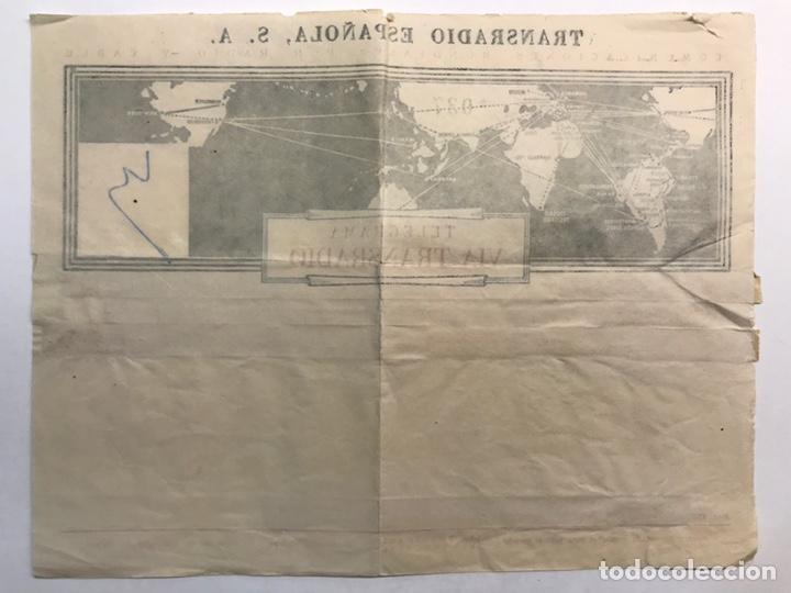 Sellos: TELEGRAMA TRANSRADIO LONDON AIRPORT BARCELONA (h.1950?) Cuando no existía el watsappp - Foto 2 - 210264301