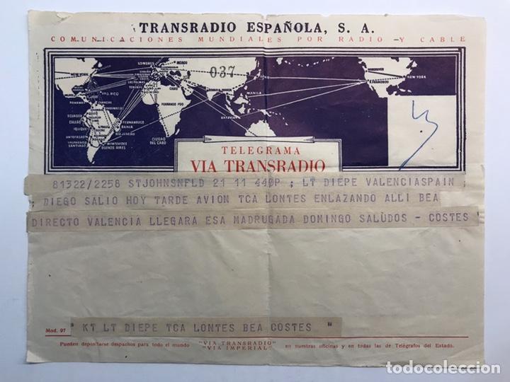 TELEGRAMA TRANSRADIO LONDON AIRPORT BARCELONA (H.1950?) CUANDO NO EXISTÍA EL WATSAPPP (Sellos - España - Telégrafos)