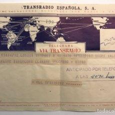 Sellos: TELEGRAMA TRANSRADIO ST.JOHNSNFLD - VALENCIA (H.1950?) CUANDO NO EXISTÍA EL WATSAPPP. Lote 210264420