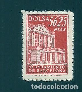 A2-9 FISCAL AYUNTAMIENTO DE BARCELONA BOLSA EJEMPLAR DE 56.25 PTAS COLOR ROJO SIN FIJASELLOS (Sellos - España - Telégrafos)