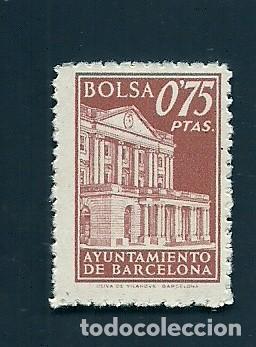 A2-9 FISCAL AYUNTAMIENTO DE BARCELONA BOLSA EJEMPLAR DE 0.75 PTAS COLOR SIENA SIN GOMA (Sellos - España - Telégrafos)
