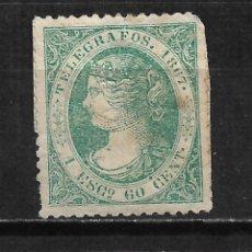 Francobolli: ESPAÑA TELEGRAFOS 1867 EDIFIL 19 USADO - 18/12. Lote 215144727