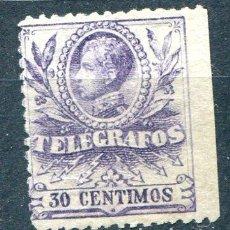 Sellos: EDIFIL 42 DE TELÉGRAFOS. 30 CTS AÑO 1906. NUEVO SIN GOMA. SIN DENTAR LADO DERECHO. Lote 219101521