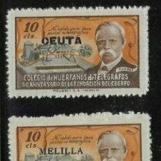 Sellos: ESPAÑA 1945. HUERFANOS DE TELEGRAFOS CEUTA Y MELILLA. NUEVOS. Lote 221271462