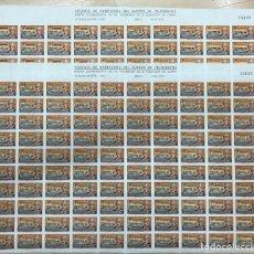 Sellos: 1944 (2) PLIEGOS 100 SELLOS VIÑETAS COLEGIO DE HUÉRFANOS DEL CUERPO TELEGRAFOS. CEUTA Y MELILLA. Lote 221544472