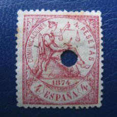 Sellos: 1874, SELLO TALADRADO DE TELEGRAFOS, EDIFIL 151T. Lote 222364797