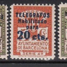 Sellos: BARCELONA, TELÉGRAFOS, 1937 - 1938 EDIFIL Nº 10 / 12 /*/. Lote 222393045