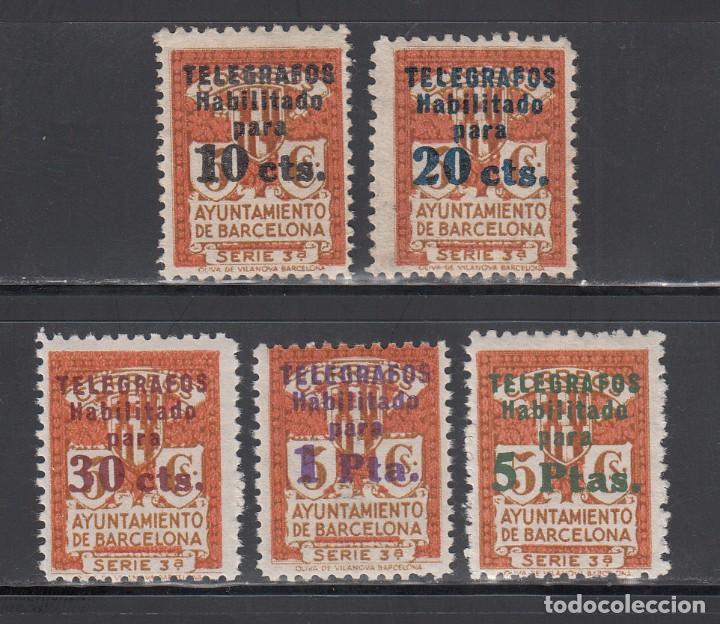 BARCELONA, TELÉGRAFOS, 1934 EDIFIL Nº 4 / 8 /**/, SIN FIJASELLOS (Sellos - España - Telégrafos)