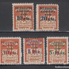 Sellos: BARCELONA, TELÉGRAFOS, 1934 EDIFIL Nº 4 / 8 /**/, SIN FIJASELLOS. Lote 222393245
