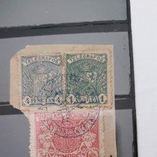 Selos: LOTE DOS FRAGMENTOS CON TELEGRAFOS EDIFIL 60 Y 61 ESPAÑA 1921. Lote 223693887