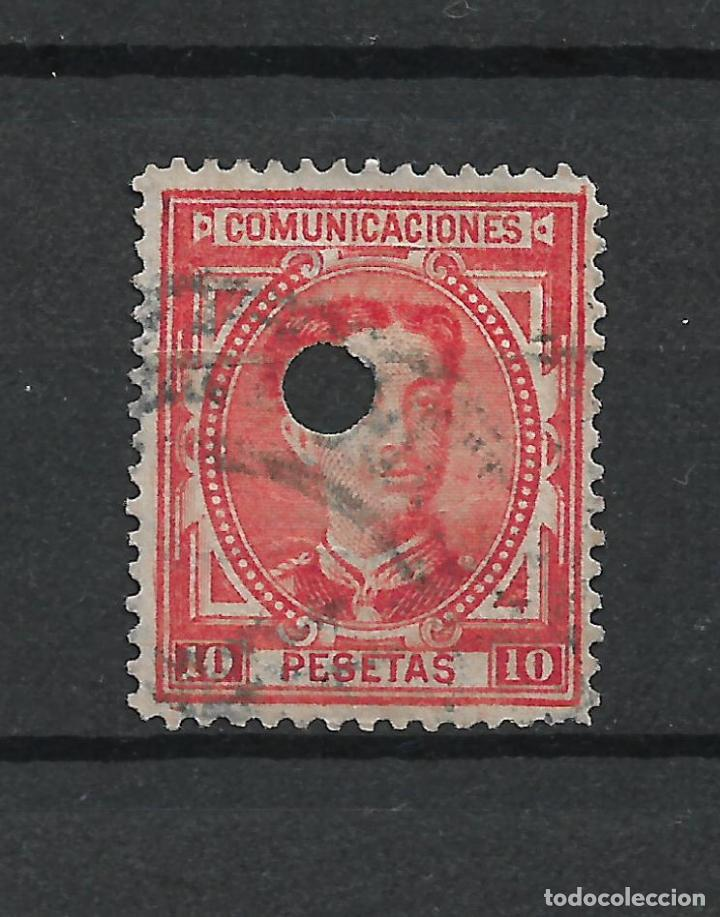 ESPAÑA 1876 EDIFIL 182T 182 TALADRO - 19/21 (Sellos - España - Telégrafos)