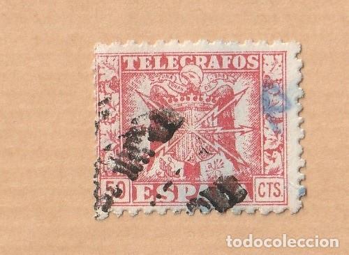 TELÉGRAFOS, 1940-42. ESCUDO DE ESPAÑA. 50 CÉNTIMOS EDIFIL 81.USADO (Sellos - España - Telégrafos)
