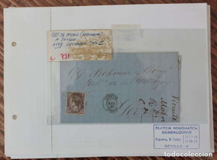 CARTA DE MOTRIL (GRANADA) A SEVILLA, SELLO Nº 98 FECHADOR TIPO II (Sellos - España - Telégrafos)