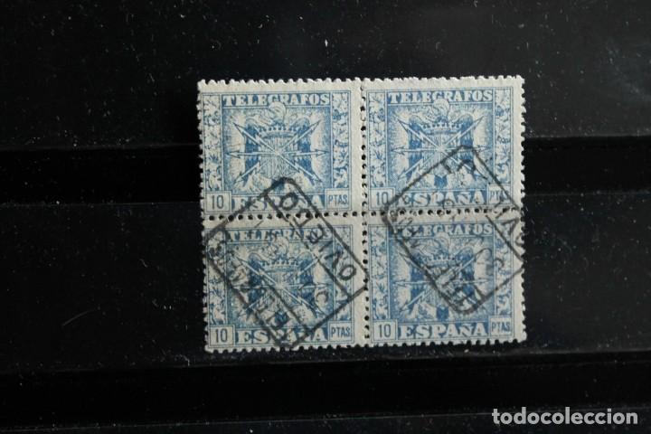 EDIFIL 84 DE TELEGRAFOS EN BLOQUE DE CUATRO USADOS CON Nº SERIE AL DORSO (Sellos - España - Telégrafos)