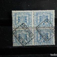 Sellos: EDIFIL 84 DE TELEGRAFOS EN BLOQUE DE CUATRO USADOS CON Nº SERIE AL DORSO. Lote 233972220