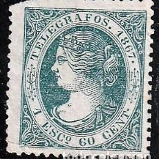 Sellos: ESPAÑA.EDIFIL Nº15T.AZUL VERDOSO.1ECY 60C.NUEVO.TELEGRAFOS.ISABEL 1850 A 1869. Lote 234933620