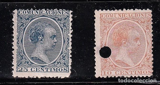 ESPAÑA.EDIFIL Nº218T Y 221T.BERMELLON YAZUL.10 Y 25C.TELEGRAFOS.ALFONSO XIII.DE 1886 A 1931. (Sellos - España - Telégrafos)