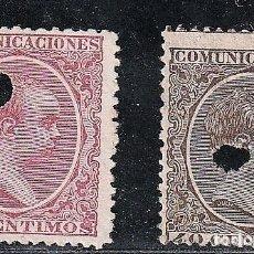 Sellos: ESPAÑA.EDIFIL Nº223T Y 224T.CASTAÑO Y ROSA CARMINADO.40 50 C.TELEGRAFOS.ALFONSO XIII.DE 1886 A 1931.. Lote 234941215