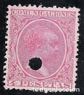 ESPAÑA.EDIFIL Nº227T.ROSA.4PTAS.IMPECABLE.TELEGRAFOS.ALFONSO XIII.DE 1886 A 1931. (Sellos - España - Telégrafos)