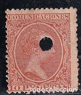 ESPAÑA.EDIFIL Nº228 T.BERMELLON.10 PTAS.IMPECABLE.TELEGRAFOS.ALFONSO XIII.DE 1886 A 1931. (Sellos - España - Telégrafos)
