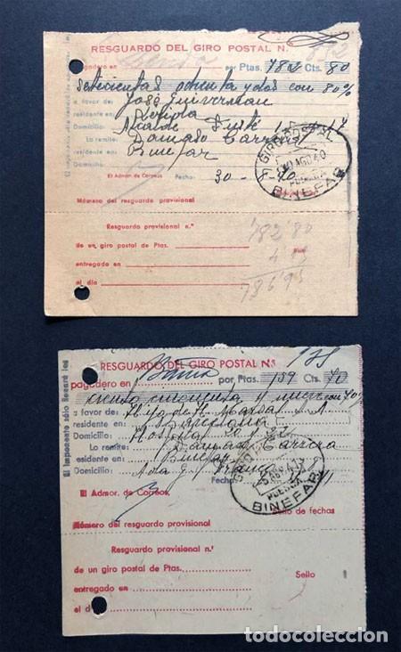 BINEFAR / RESGUARDOS GIRO POSTAL / FRANQUEO AÑOS 1940 - 1941 / HUESCA (Sellos - España - Telégrafos)