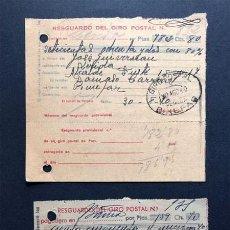 Sellos: BINEFAR / RESGUARDOS GIRO POSTAL / FRANQUEO AÑOS 1940 - 1941 / HUESCA. Lote 239455355