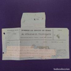 Selos: ANTIGUO TELEGRAMA CON CENSURA MILITAR. TELEGRAFOS VIZCAYA. BILBAO. 1936-1939. ORIGINAL.. Lote 239825230