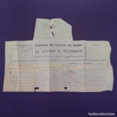 Selos: ANTIGUO TELEGRAMA CON CENSURA MILITAR. TELEGRAFOS VIZCAYA. BILBAO. 1936-1939. ORIGINAL.. Lote 239825275