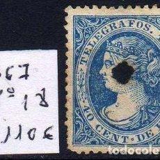 Sellos: GIROEXLIBRIS.-1867. TELÉGRAFOS, SELLO DE ISABEL II EDIFIL Nº 18* 40 C. DE ESCUDO DE COLOR AZUL. Lote 241663030