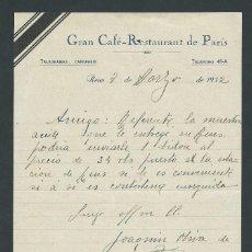 Sellos: ANTIGUA CARTA TELEGRAMA GRAN CAFE RESTAURANT DE PARIS REUS AÑO 1932 JOAQUIN OLIVA. Lote 31025018